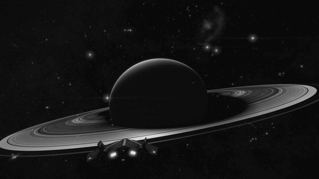 Saturn Planet Spacecraft Monochrome 8K Wallpaper