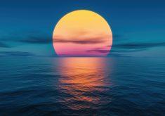 Sunset Ocean Water Clouds 5K Wallpaper